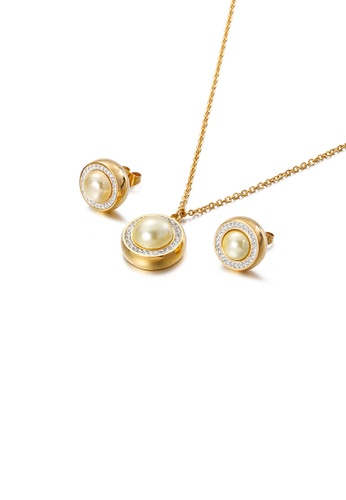 Glamorousky white Fashion and Elegant Plated Gold Geometric Round Yellow Imitation Pearl 316L Stainless Steel Necklace and Stud Earrings Set with Cubic Zirconia 2C84FACD00DFC5GS_1