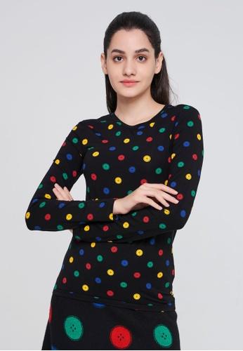 United Colors of Benetton black Allover Printed T-shirt CFA67AA465E9E6GS_1