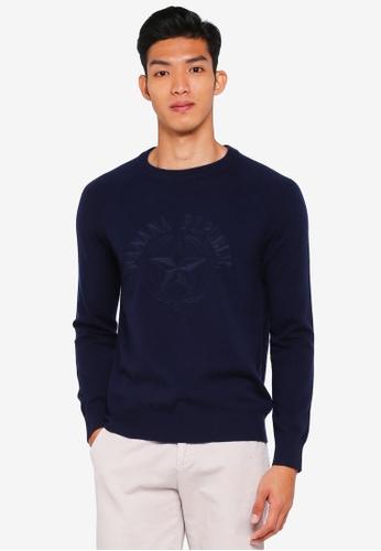 Banana Republic navy Wool-Cashmere Logo Sweater 8DA02AA6025E1EGS_1