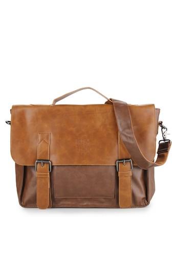 Urban State brown Distressed Leather Office Bag UR647AC0UMKSID_1