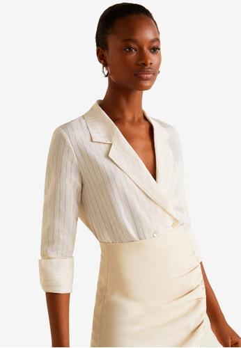 Mango white Striped Soft Fabric Blouse 5C1ECAAEDD4180GS_1