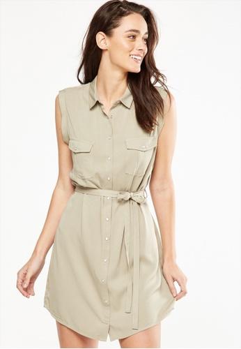 Cotton On silver Woven Tilly Sleeveless Shirt Dress FB766AA7690FBFGS_1