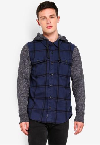 Hollister multi and navy Long Sleeve Flannel Hood Pattern Shirt 608B0AAF48C66CGS_1