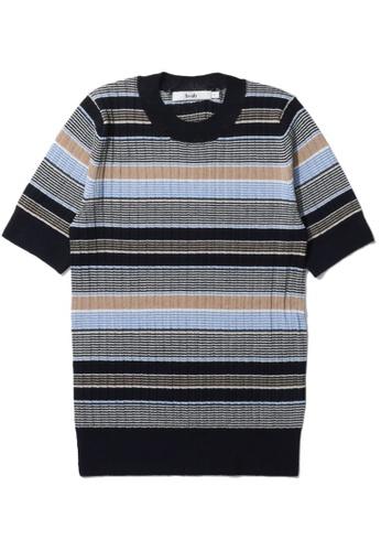 b+ab navy Stripe knit tee 60F82AA6AB7178GS_1