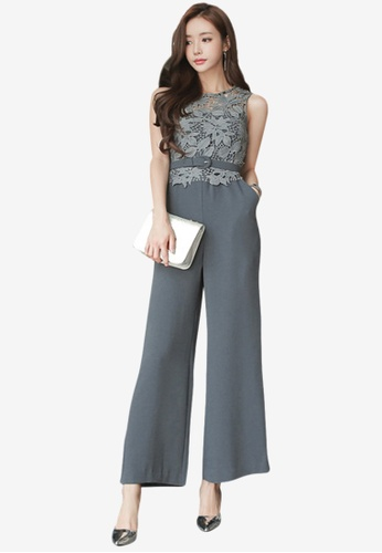 Sunnydaysweety grey Grey Lace Top Jumpsuit 0A5E9AA187FBF7GS_1