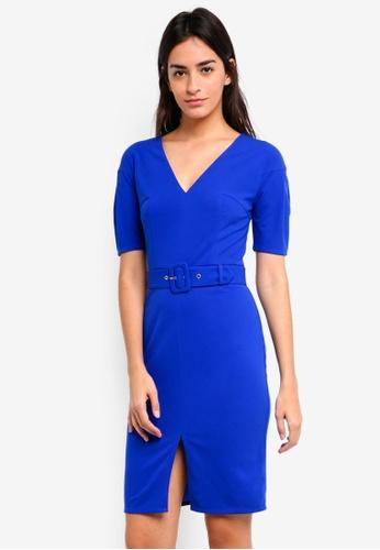 ZALORA blue Drop Shoulder Midi Dress D4C36AADC08CF9GS_1