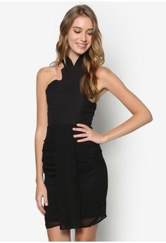 Vinny Sheer Overlay Halter Dress