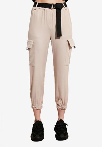 Trendyol beige Belted Cargo Jogger Trousers 8841FAAD335E59GS_1