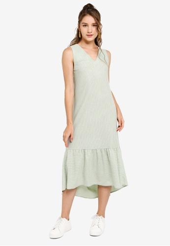 ZALORA YOUNG green Dropped Waist Cross Back Midi Dress 76D05AA28E52F8GS_1