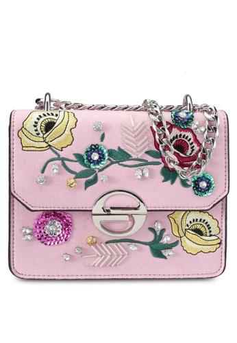 TOPSHOP pink Floral Crossbody Bag TO412AC0SRT6MY_1