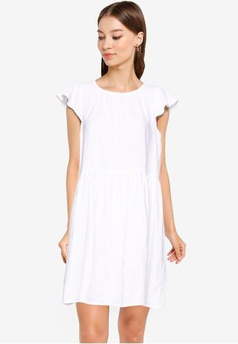 Banana Republic white Flutter Sleeve Linen Shift Dress 520E7AA7AFA705GS_1