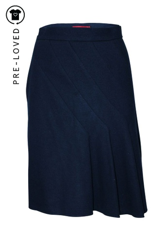 Carolina Herrera blue Pre-Loved carolina herrera Woolen Blue Navy Skirt CA116AA6E18247GS_1