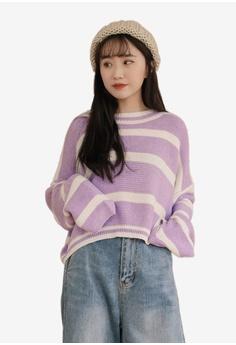 e7483224c7 Tokichoi purple Loose Stripe Long Sleeve Top E0395AADE694DBGS_1