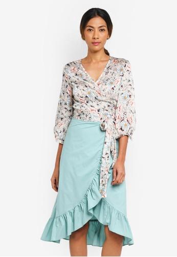 Haute Kelly green Nari Floral Print Top & Ruffle Skirt Set DF08BAA5329B00GS_1