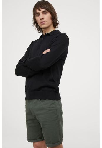 H&M green Woven Shorts B0507AA25232F3GS_1