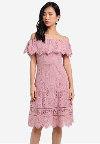 ZALORA pink Lace Off Shoulder Midi Dress 2024CAA58D146EGS_1