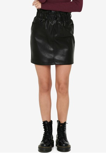 ONLY black Faux Leather Skirt BA712AACE69A29GS_1