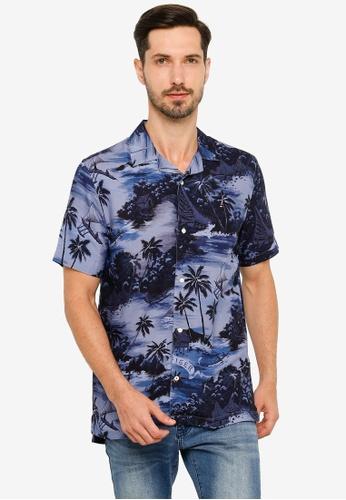 Tommy Hilfiger blue Hawaiian Print Short Sleeve Shirt 9AF92AA0E44B2DGS_1
