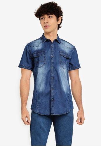 Fidelio blue Western Washed Denim Shirt 1158AAAA225230GS_1