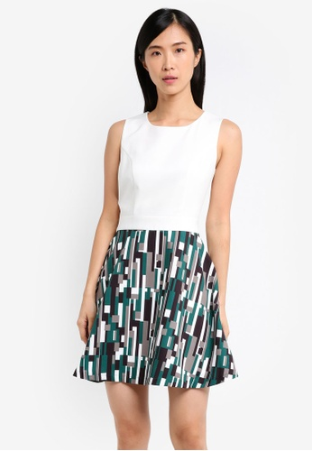ZALORA white and green Fit and Flare Print Dress FD668AA4D8360BGS_1