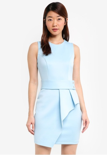 Miss Selfridge blue Blue Belted Asymetric Layer Shift Dress CA243AA4B0B148GS_1