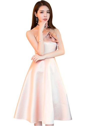 Sunnydaysweety pink 2017 S/S Fashion Design Satin One-Piece Dress UA033132 SU219AA24DWLSG_1