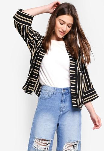 Something Borrowed black and yellow Contrast Stripes Kimono Cardigan 376C5AA30BBD51GS_1