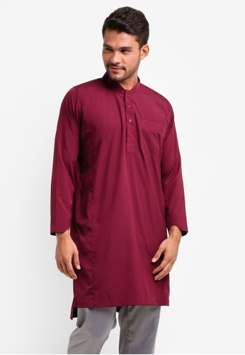 Lubna red Bomber Collar Kurta BB899AA4A53F88GS_1