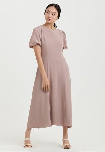 Cloth Inc pink Gemma Puff Sleeve Dress in Rose Brown EB609AA2C7725BGS_1