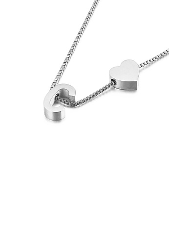 Glamorousky silver Simple and Fashion Heart-shaped English Alphabet C 316L Stainless Steel Pendant with Necklace 0F045AC33D23F6GS_1