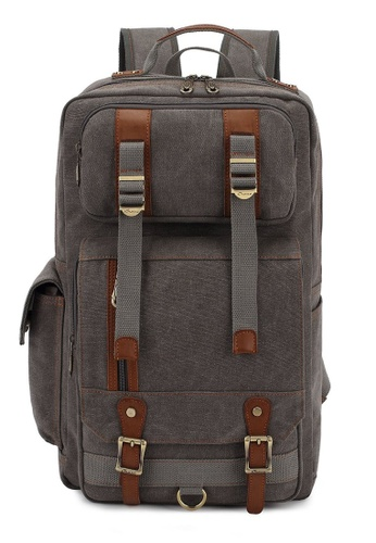All Things New grey and brown KAUKKO FS261 Canvass Multi-pocket Backpack F06C9AC0A040C8GS_1