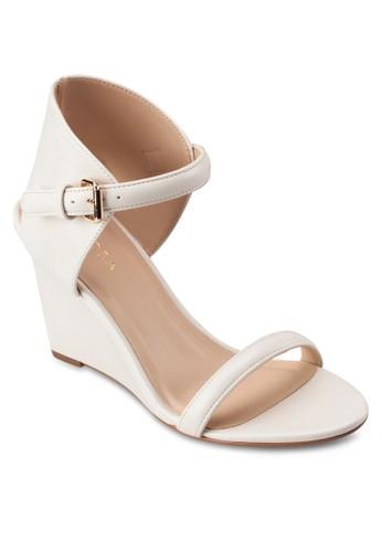 露趾繞踝帶楔形zalora 手錶涼鞋, 女鞋, 楔形涼鞋