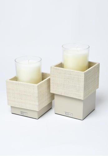 Grassroots grey Square Candle Holder (Tall) 3C84BHL78B139FGS_1