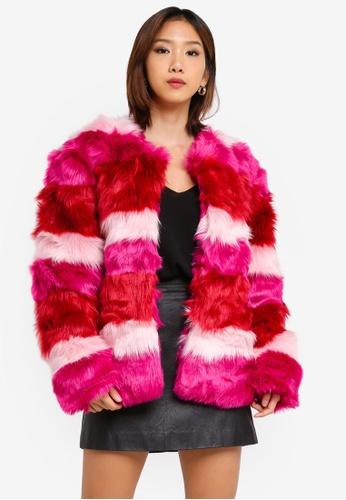 NA-KD pink Multi Colour Faux Fur Jacket ECD0EAA01FA549GS_1