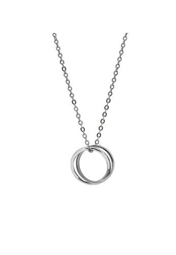 LYCKA silver LDR1264 S925 Silver Minimal Circles Necklace 322B3AC82F89F0GS_1