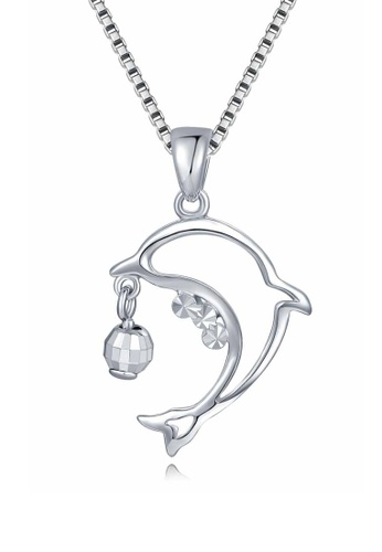 Buy mabelle 14k585 white color gold gold dolphin pendant with mabelle silver 14k585 white color gold gold dolphin pendant with silver necklace 85e5bac1b56cd5gs1 aloadofball Gallery