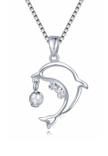 MaBelle silver 14K/585 White  Color Gold Dolphin Pendant Necklace 85E5BAC1B56CD5GS_1
