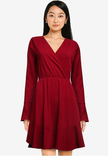 ZALORA BASICS red Long Sleeve Wrap Rib Dress 3FFEFAA6E51072GS_1