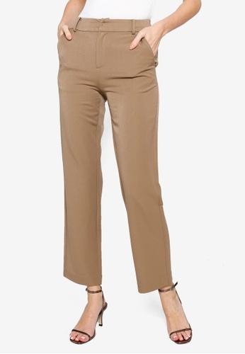 Hopeshow brown High Waist Slim Fit Trousers BDB1AAAADCAE4EGS_1