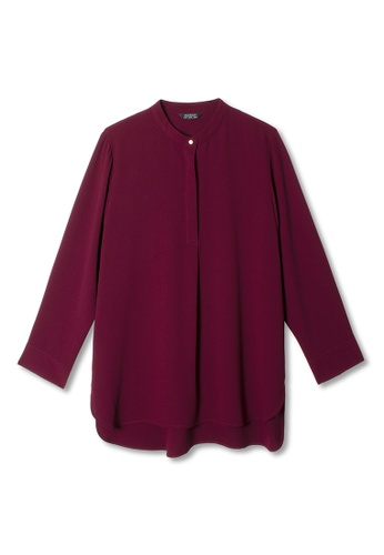 MS. READ red Nehru Collared Top 721D7AAAF41BE4GS_1