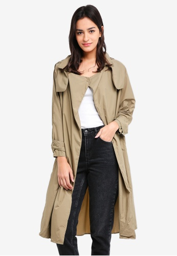 Hopeshow brown and green Hooded Long Trench Coat AA458AA0AAC8DAGS_1