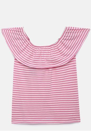 ZALZA pink Liatris 100% Organic Cotton Knitted Girls Off-shoulder Top - Aurora Pink 166C9KA4DDB4C3GS_1