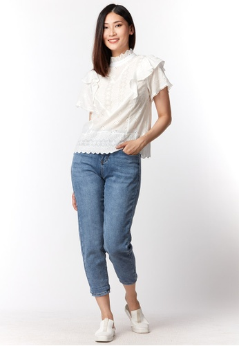 What To Wear white Cotton Embroidered Details Top in White 2DAB3AA05EDACBGS_1