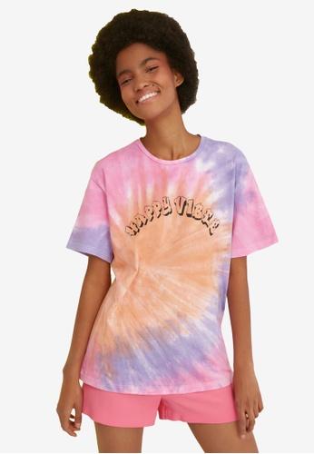 Trendyol multi Tie Dye Patterned Boyfriend Knitted T-Shirt 0831EAA50C06D2GS_1