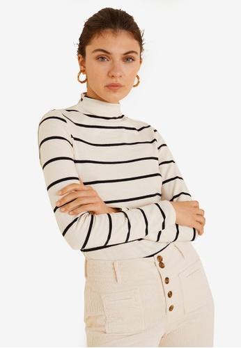Mango white Striped Turtleneck T-Shirt EB695AA80EA613GS_1