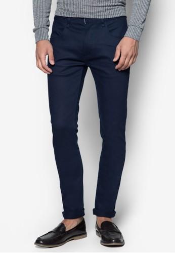 zalora 折扣碼斜紋彈性窄管長褲, 服飾, 服飾