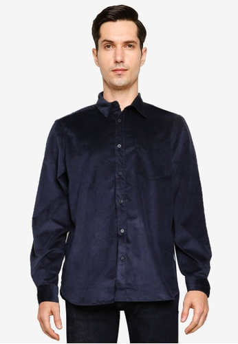 French Connection blue Micro Cord Shirt EFA46AA180F1E7GS_1