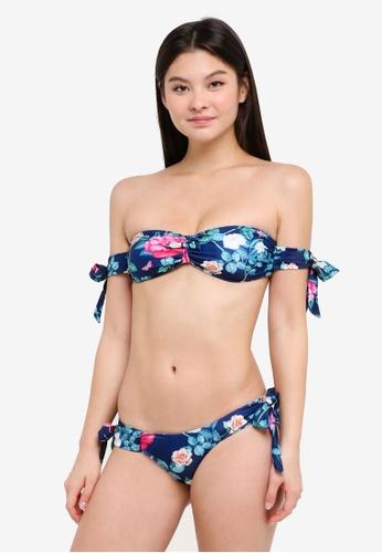 PINK N' PROPER navy Helena Tropical Off-Shoulder Bikini Set 5110BUS680F2C5GS_1
