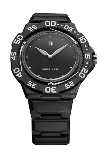 NOVE black and white NOVE Trident Swiss Made Quartz Diver Watch for Men (Black White E014-02) 543CFACA0BF891GS_1