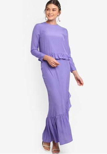 Lubna purple Frill Top & Skirt C7E58AA0CB0E22GS_1